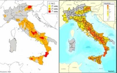 Sicurezza sismica delle strutture prefabbricate: le mappe con la classificazione sismica del territorio italiano nel 1984 (a sinistra) e nel 2012 (a destra)