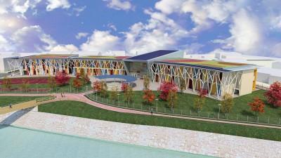 Nuova Scuola Elementare a Borgo Valsugana (Trento). Vista virtuale generale.