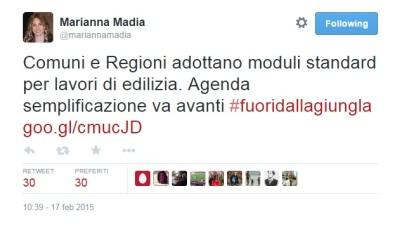 Tweet di Marianna Madia