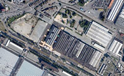 Veduta aerea dell'ex polo logistico di Mirafiori a Torino