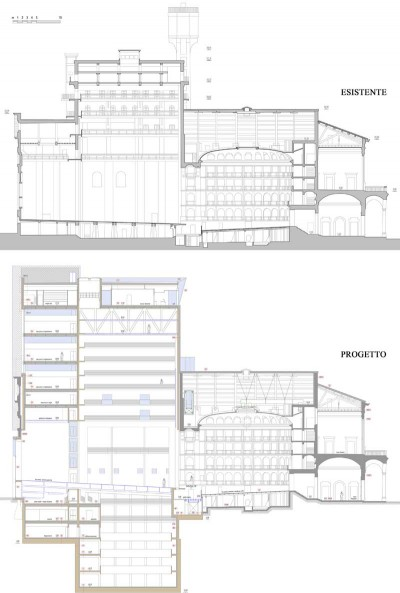 Sezioni longitudinali assiali a confronto: esistente e progetto.